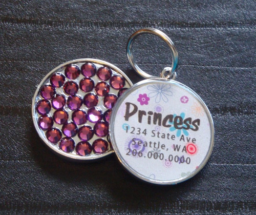 Purple Spring Rhinestone Pet ID Tag