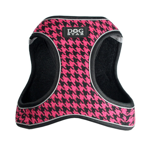 EZ Reflective Houndstooth Harness Vest - Pink/Black