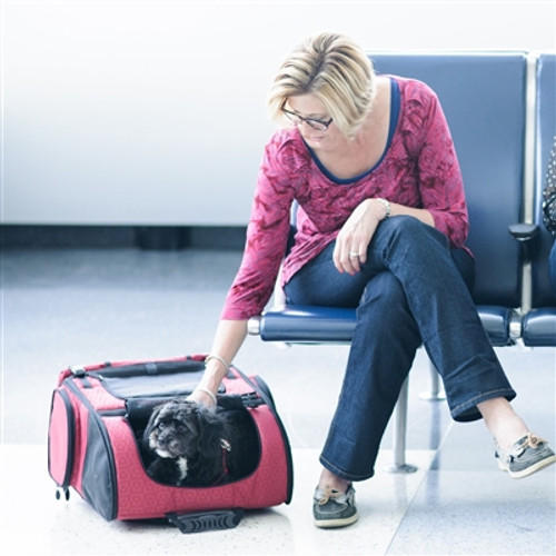Red Geometric RC1000 Roller-Carrier for Pets up to 10lbs.