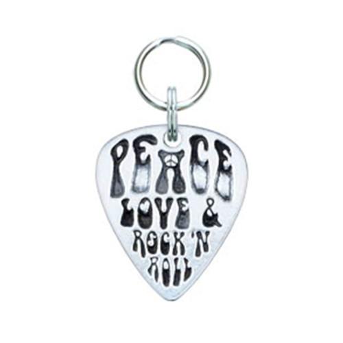 Peace, Love & Rock'n Roll Guitar Pick Tag