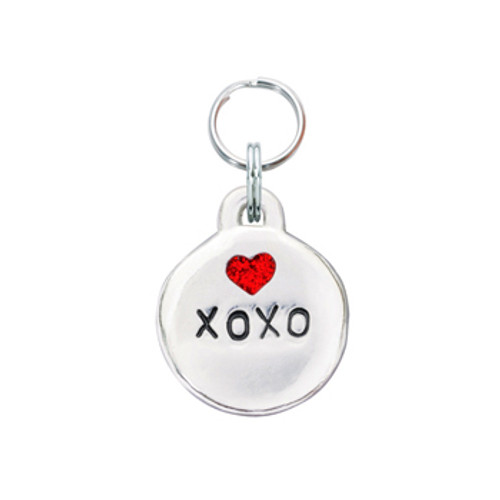 XOXO Pet ID Tag with Red Glitter Heart