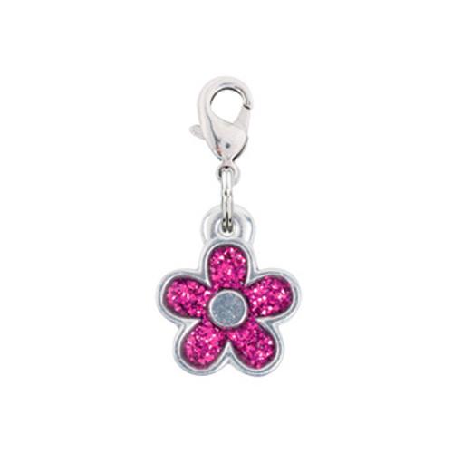 Rockin Doggie Pink Sparkle Flower Crystal Dog Charm