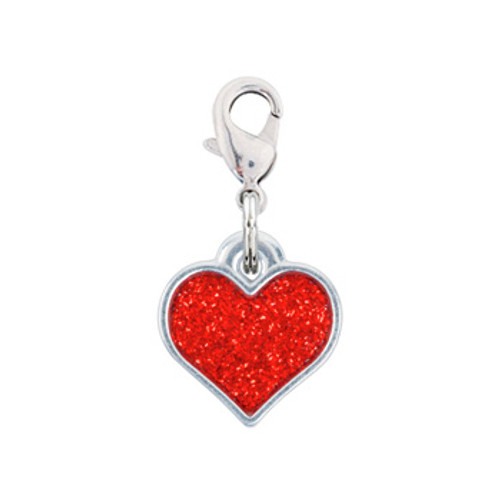 Rockin Doggie Red Sparkle Heart Dog Charm