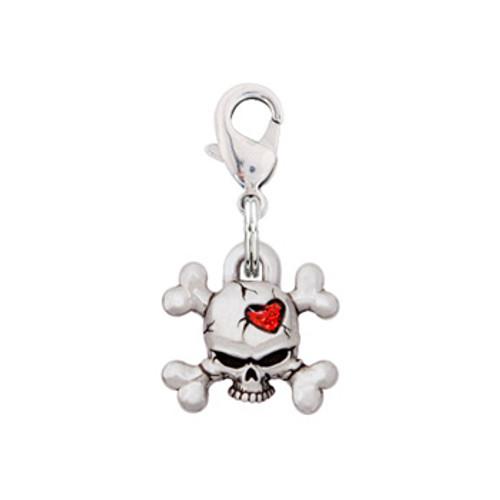 Rockin Doggie Skull & Crossbones Heart Dog Charm
