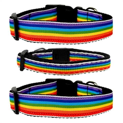 Rainbow Striped Nylon Collars