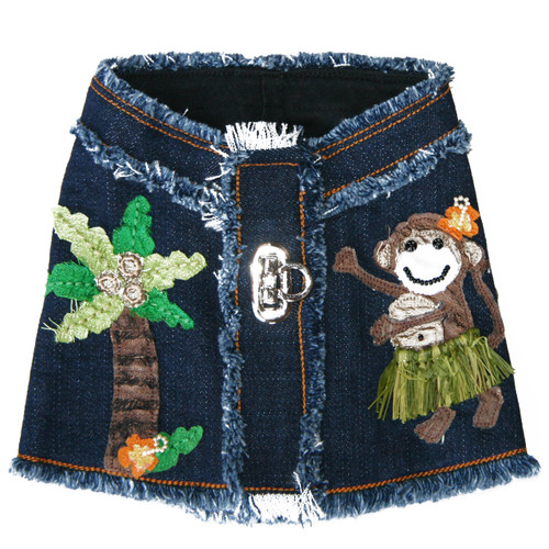 The Lahaina Collection Hula Monkey Denim Harness Vest
