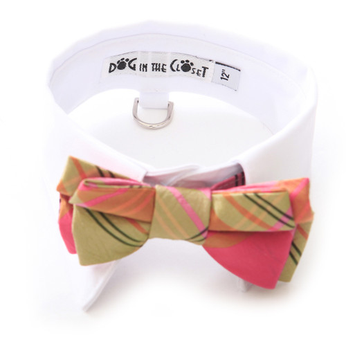 White Shirt Dog Collar with Coral & Lime Silk Plaid Bow Tie