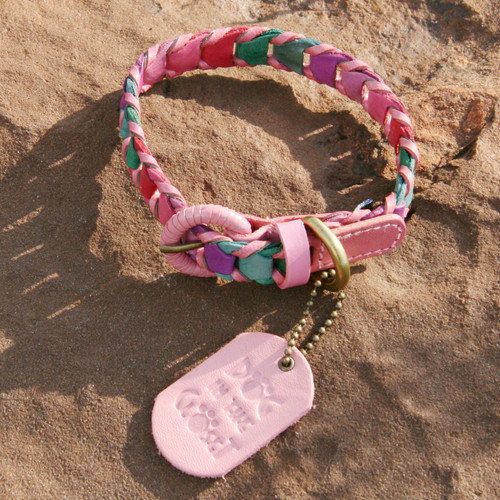 Multicolor Pink Leather Dog Collar