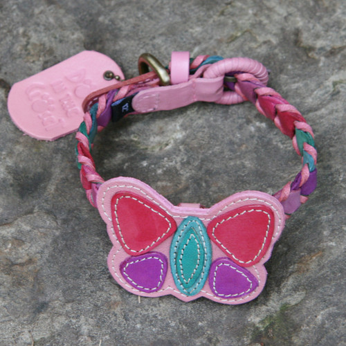 Multicolor Pink Leather Dog Collar with Butterfly Attachment