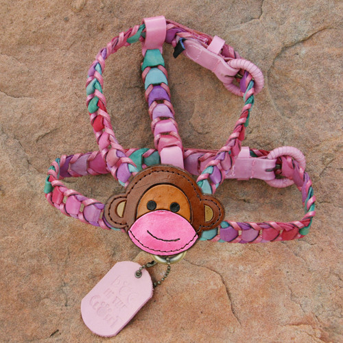 Multicolor Pink Leather Dog Harness with Monkey Attachment