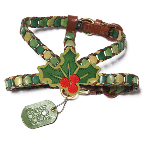 Shades of Green Leather Dog Harness with Holly Attachment