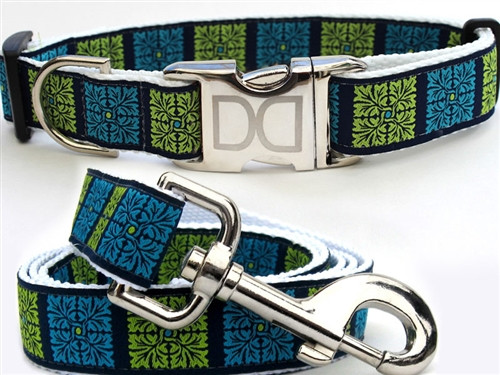 Savannah Squares Collection Kiwi and Turquoise Color - All Metal Buckles