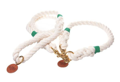 Natural White Dog Collar - Green Hemp Twine