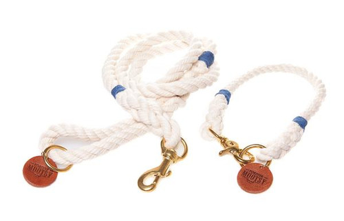 Natural White Dog Collar - Navy Blue Hemp Twine