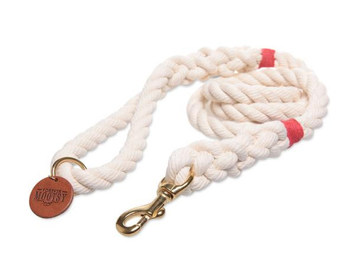 Natural White Dog Leash - Red Hemp Twine