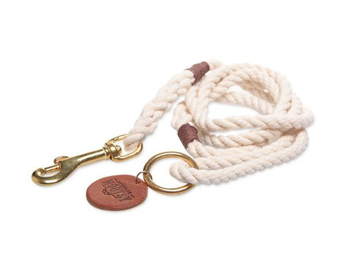 Natural White Dog Leash - Brown Hemp Twine