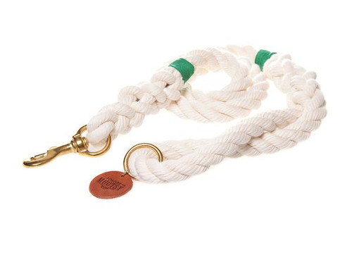 Natural White Dog Leash - Green Hemp Twine