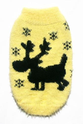 Feathersoft Yellow Moose Sweater Dog Sweater