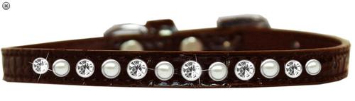 Pearl and Clear Jewel Croc Dog Collar