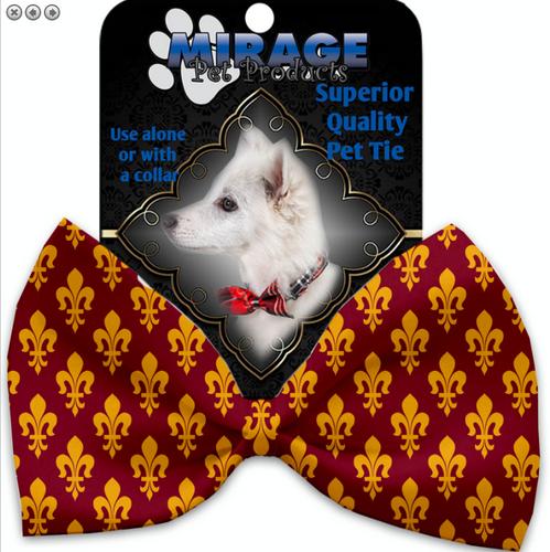 Maroon Fleur de Lis Pet Bow Tie