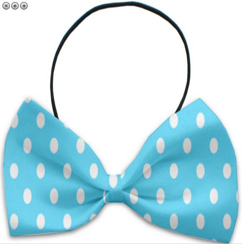 Aqua Polka Dots Pet Bow Tie