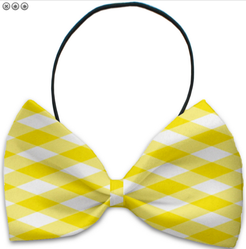 Yellow Plaid Pet Bow Tie
