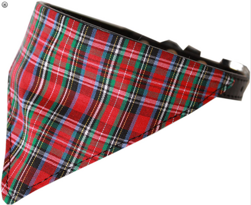 Red Plaid Bandana Pet Collar