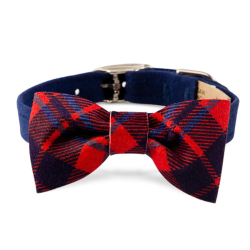Scotty Furberry Blue and Red Plaid Bow Tie Dog Collar