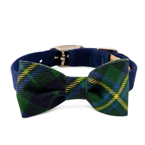 Scotty Furberry Blue and Green Plaid Bow Tie Dog Collar