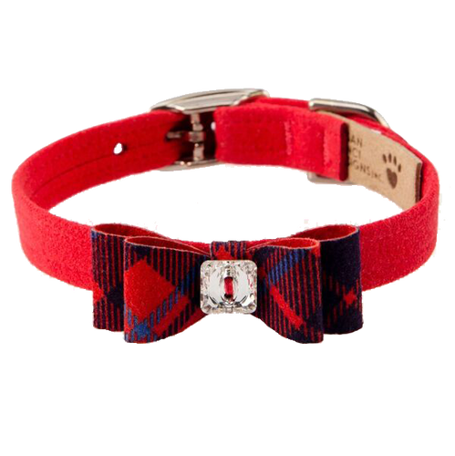 Scotty Collar Furberry Red Plaid Big Bow Collar