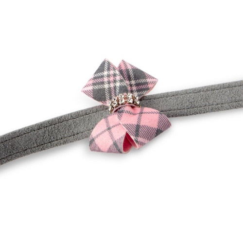 Scotty Furberry Grey and Pink Plaid Nouveau Bow Tie Leash 2
