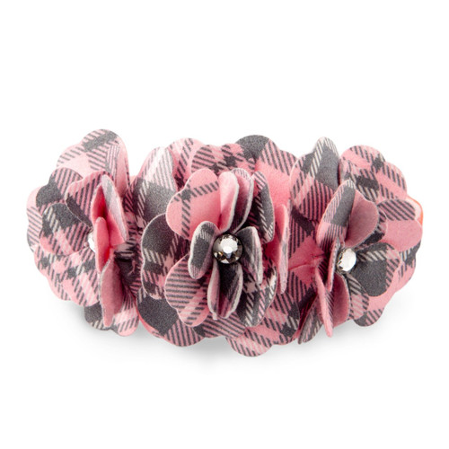 Scotty Furberry Pink Plaid Flower Collar
