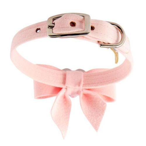 Luna Bowtique Heart Pink Bow Collar
