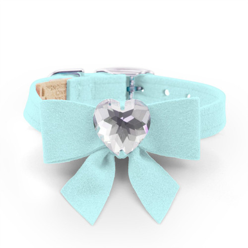 Luna Bowtique Heart Tiffinye Blue Bow Collar