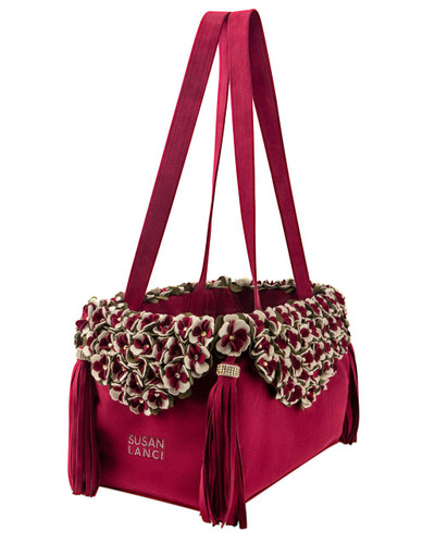 The Garden Flower Burgundy Luxury Carrier Purse 2