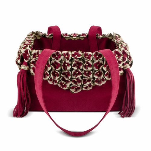 The Garden Flower Burgundy Luxury Carrier Purse