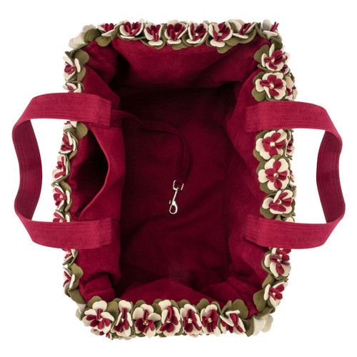 The Garden Flower Burgundy Luxury Carrier Purse 3