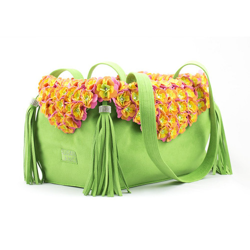 Garden Flower Green Luxury Carrier Purse