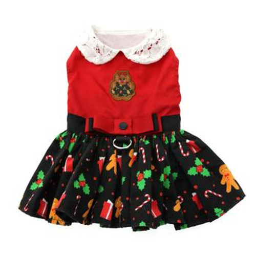 Gingerbread Christmas Harness Dress with Leash
