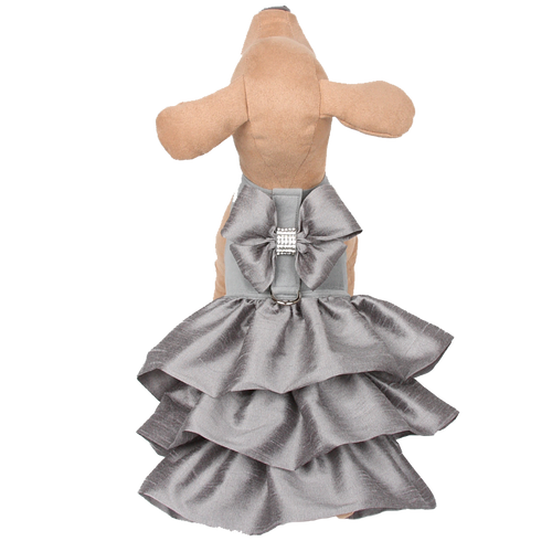 Madison Ruffle Silver Couture Dress