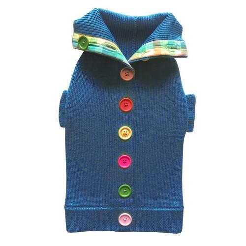 Blue Rainbow Button Sweater 2