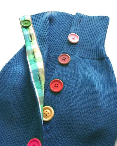 Blue Rainbow Button Sweater 3