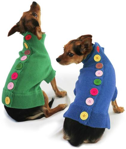 Blue Rainbow Button Sweater 4