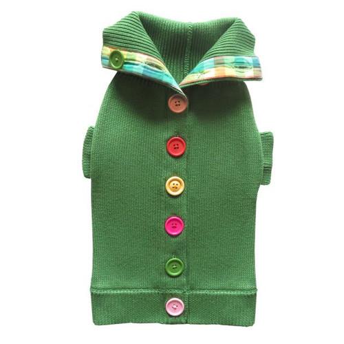 Green Rainbow Button Sweater 2