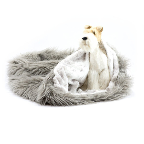 Taupe Shag Cuddle Sak with Platinum Snow Lining