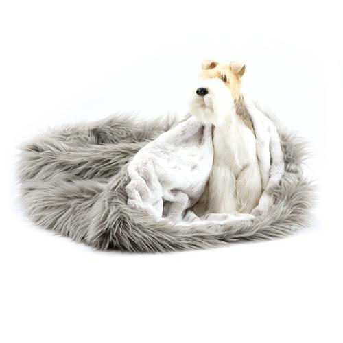 Taupe Shag Cuddle Sak with Platinum Snow Lining