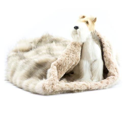 Cream Fauxy Fox Cuddle Sak with Camel Curly Sue Lining