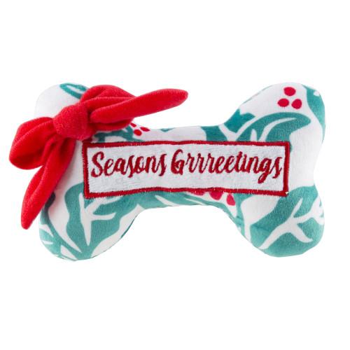 Holly Print Bone - Seasons Grrreetings Plush Toy