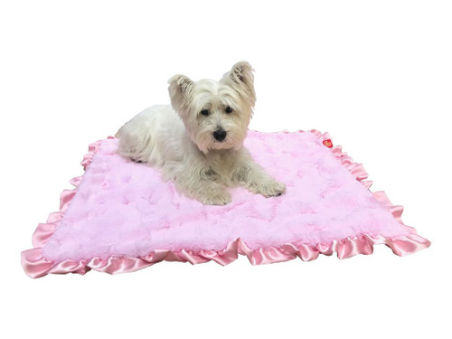 Furbaby Ruffled Travel Blanket (29x29) Bella Pink