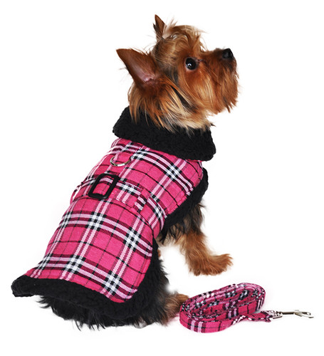 Designer Hot Pink Plaid Classic Dog Coat Harness with Matching Leash
